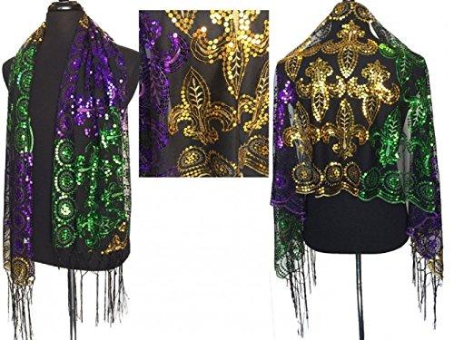 Mardi Gras Fleur De Lis Sequined Shawl Purple Green Gold Fringe SCARF MASQUERADE COSTUME SEXY table runner tree skirt