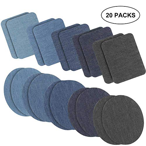 Jeans Patch Sewing - Iron on Patches Jacket Jean Clothes Denim Patches Iron-on Repair Patches Kit by eMgioo, 20 Pieces, 5 Colors