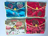 Alsomtec Chinese Traditional Brocade Pouch,coin Purses,embroidery Pouch,jewelry Bag,candy Bag,with Button(set of 4,shipped By Random)