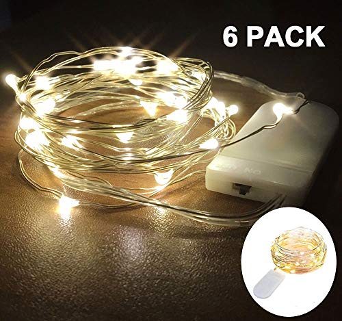 [Pack of 6] 20 Micro LEDs Fairy String Lights Battery Operated, 7FT Silver Coated Copper Wire Starry String Lights for Indoor Costume Wedding Party Jars DIY Decoration (Warm White)]()