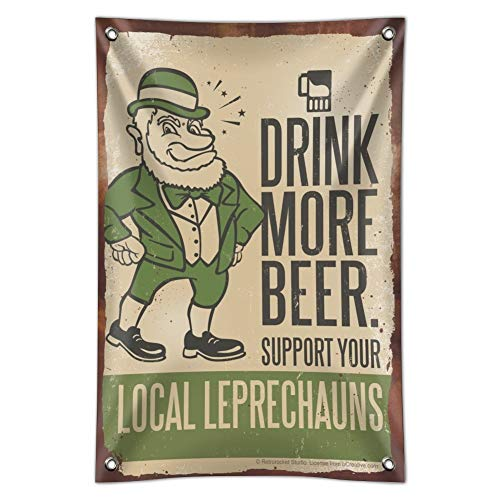 """Drink More Beer Support Local Leprechauns Home Business Office Sign - Vinyl Banner - 22"""" x 33"""" (56cm x 84cm)"""