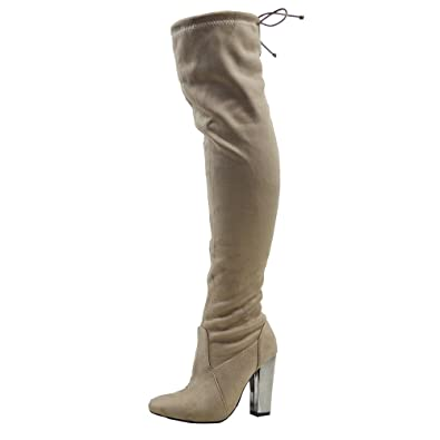 84cafc778f9 ESSEX GLAM Womens Over The Knee Chrome Heel Ladies LACE Stretch Thigh HIGH  Long Leg Boots