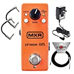 MXR M290 Mini Phase 95 Phaser Effects Pedal for Electric Guitar includes (Power Adapter) with 2 Path Cable and Instrument Cable by Dunlop