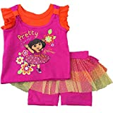 Dora the Explorer Infant Toddler Girls Pretty Flowers Tee & Plaid Shorts Outfit