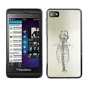 Shell-Star Arte & diseño plástico duro Fundas Cover Cubre Hard Case Cover para Blackberry Z10 ( Skeleton Spine Art Black White Pencil Drawing )