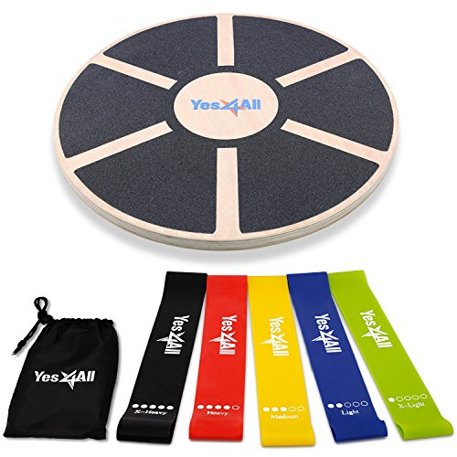Yes4All Special Combo: Wooden Wobble Balance Board & Resistance Loop Bands with Carry Bag (Set of 5) - Elastic Stretch Bands/Pull Up Assist Bands