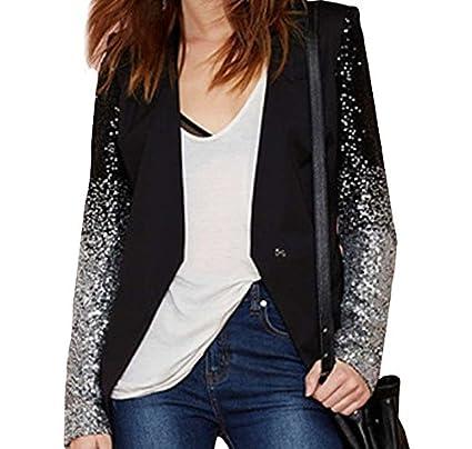 Romacci Women Blazer Coat Sparkling Sequin Long Sleeves Elegant Outwear Jacket