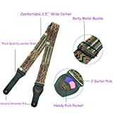 Art Weave Styles Guitar Strap, 2.5 inch Electric Bass Guitar Strap Acoustic Guitar Accessories, The Strap With Pick Pocket,2 Guitar Picks,Length Ties,Leather Ends,Metal Buckle