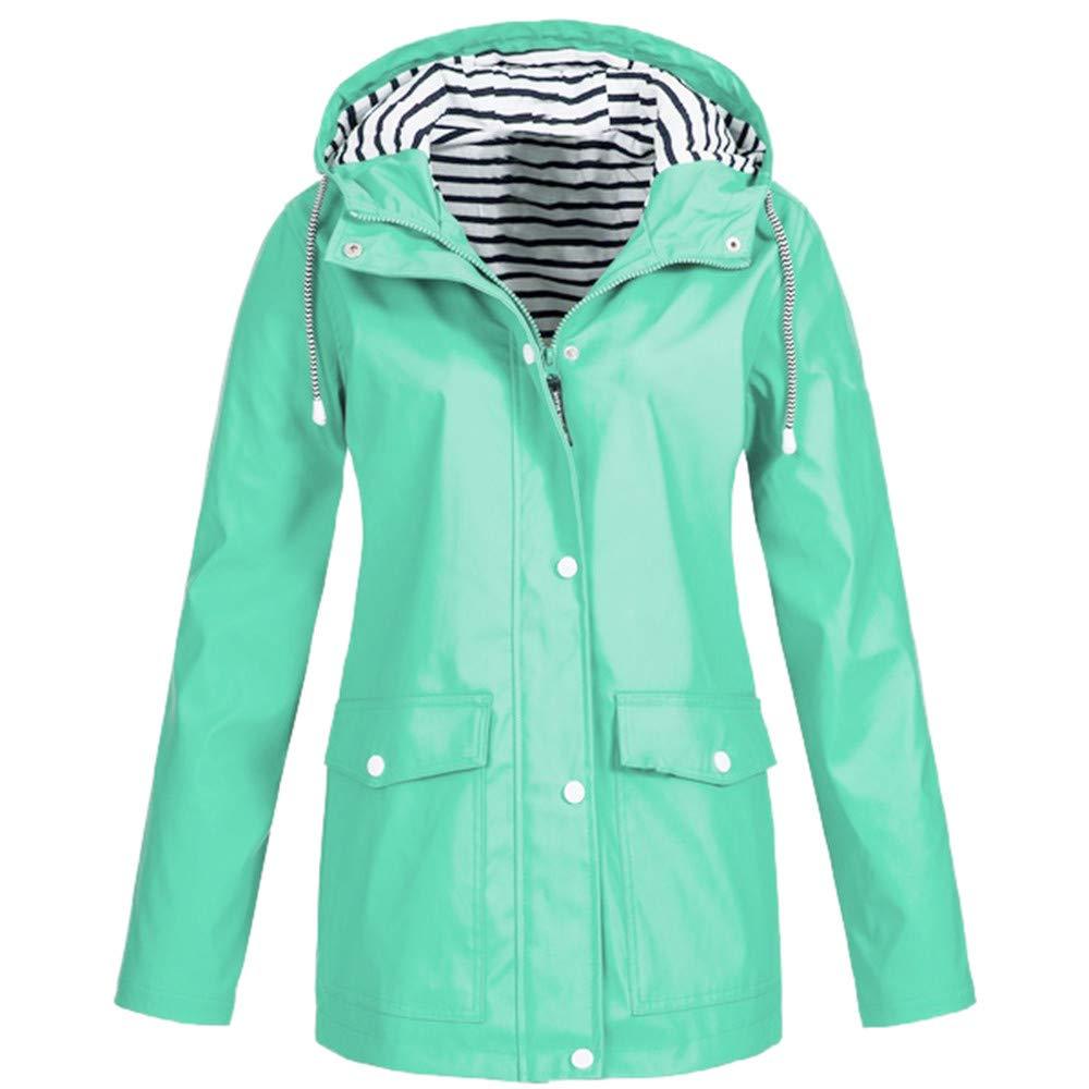 Pandaie Women Softshell Jacket Hooded Rain Jacket Waterproof Windproof Outdoor Windbreaker Raincoat Parka Long Mint Green by Pandaie