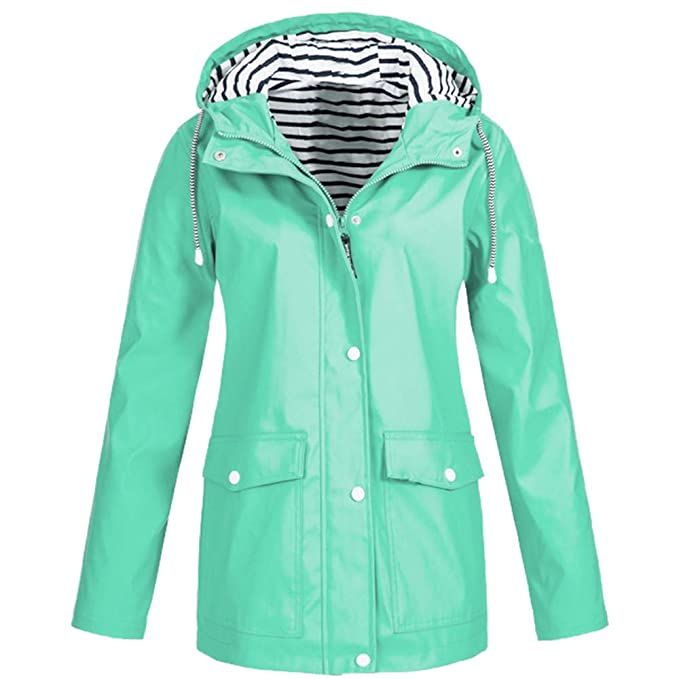 21593e95696 Amiley Women s Waterproof Raincoat Active Outdoor Striped Hooded  Lightweight Rain Jacket Windbreaker with Pockets (Small