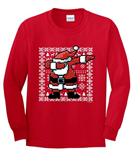 Funny Dabbing Santa Dabbing Santa Claus Ugly Christmas Sweater Themed Youth Long Sleeve T-Shirt Medium Red ()