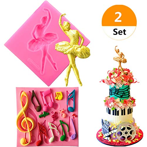 Sakolla (Set of 2) Music Note Ballet Dancer Ballerina Girl Silicone Mold Fondant Candy Soap Mold Cake Cupcake Decorating Topper Decorative Baking Tool