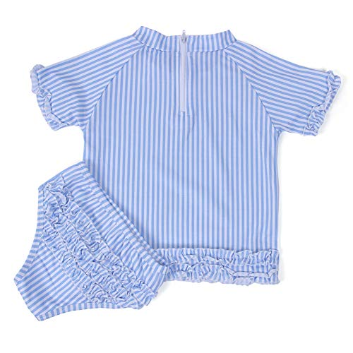 (WARMHOL Girls 2-Piece Swimsuit Set Two Pieces Bikini Set Ruffle Falbala Swimwear Seersucker Bikini Bathing Suits(3/4T) Blue)