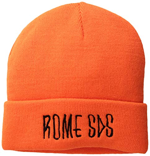 - Rome Snowboards Graphic Snowboarding Logo Beanie Hat, Skelter Safety Orange, One Size
