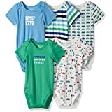 The Children's Place Boys' Li'l Guy's Printed Bodysuits (Pack of 5), Cars (Sky and Grass), 18-24 Months
