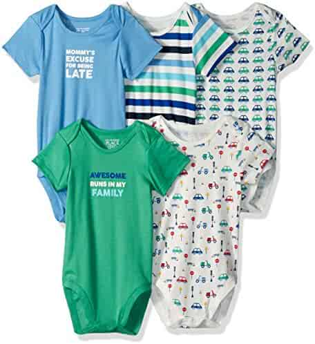 The Children's Place Baby-Boys' Li'l Guy's Printed Bodysuits (Pack of 5)