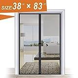 Magnetic Bug Screen Door 38 x 83, Black Door Mesh Net Convenient for Pet Walk Through with Windproof Hook and Loop Hasp Fit Door Frame...