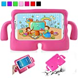 YooNow Galaxy Tab 3 Kids Case Tab 3 Lite Tab E Lite Tab 4 7.0 Back Case for Children with Carry Handle Light Weight Durable Protective Cases for Samsung Galaxy Tab 3/ 3 Lite Tablet 7 Inch (Hot Pink)