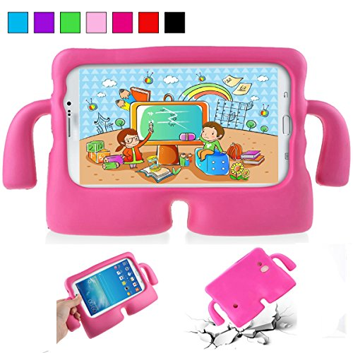 YooNow Galaxy Tab 3 Kids Case 7.0 Tab 3 Lite Tab E Lite 7.0 Back Case for Children with Carry Handle Light Weight Durable Protective Cases for Samsung Galaxy Tab 3/ 3 Lite Tablet 7 Inch (Hot Pink) (Galaxy Tab 3 Case Handle)