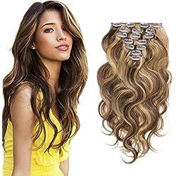 Clip in Human Hair Brazilian Virgin Clip in Hair Extensions Body Wave 7pcs/set 100g #4/27 14inch
