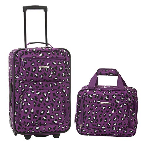 - Rockland 2 Piece Luggage Set, Purple Leopard, One Size