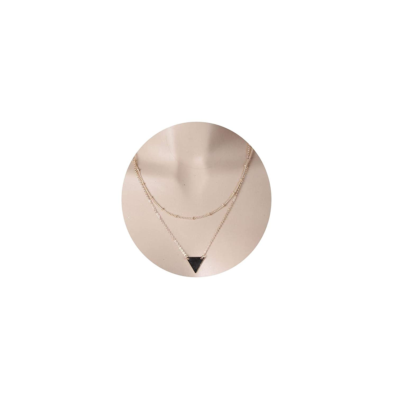 AMDXD Jewelry Multilayer Necklaces Gold Triangle Sequin Chain Necklaces Punk Necklaces for Women