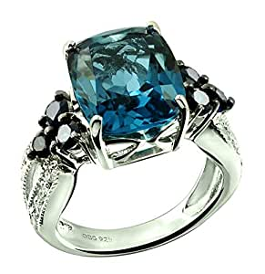 Sterling Silver 925 Ring Genuine London Blue Topaz and Blue Sapphire 7.62 Cts with Rhodium-Plated Finish (7, London-Blue-Topaz)