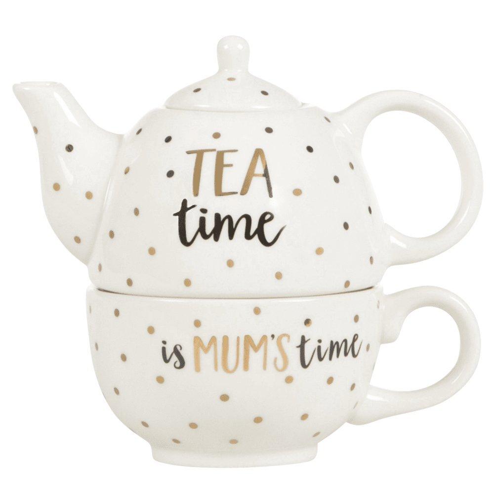 Sass and Belle Metallic Monochrome Mum Tea Time Teapot For One (Black/White/Gold) RJB Stone
