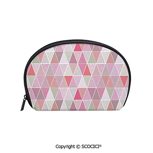 SCOCICI Women Small Portable Cosmetic Bag Storage Bag Colorful Geometric Design Triangles with Polka Dots Octagon Shape Pattern Triangular Decorative Mini Storage Bag for Daily Travel