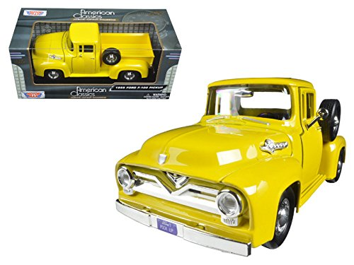 Motormax 79341Y 1955 Ford F-100 Pickup Truck Yellow 1/24 Diecast Model Car ()