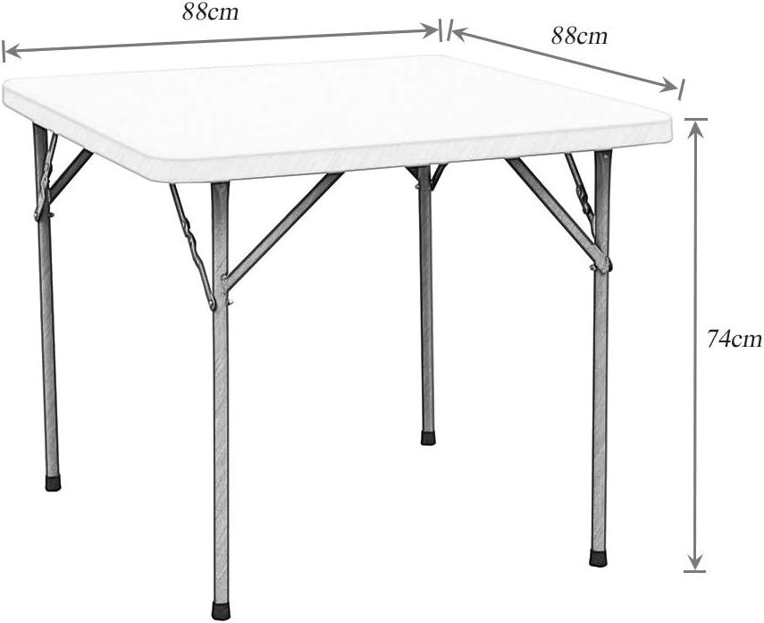 sogesfurniture klappbarer Campingtisch Gartentisch Buffettisch Esstisch aus Kunstdtoff und Stahlgestell ideal f/ür Camping Buffets 84x84x74cm BTH ca Garten HP-84F-BH