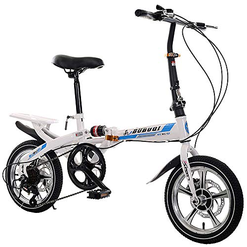 Ginrly Folding Bike Adults,Commuter Foldable Bike Kids Mountain Bike Kid's Bike Men Women,Blue,14IN