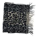 """Anny's 100% Pure Cashmere Scarf 12""""x72"""" with Gift Bag - Silky Soft Cashmere Scarf Gift (28 Colors) (Leopard Print)"""
