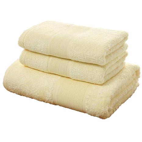 LOF-fei Juego de toallas 3 piezas fibra de bambú orgánico (1 toalla de