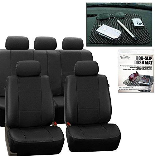 Dash Deluxe Panel - FH GROUP FH-PU007115 Deluxe Leatherette Full Set Solid Black Car Seat Covers, Airbag Ready and Split with FH GROUP FH1002 Non-slip Dash Grip Pad- Fit Most Car, Truck, Suv, or Van