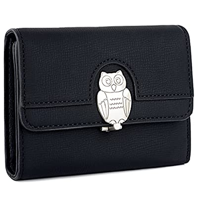 UTO Women's PU Leather Wallet Card Holder Organizer Girls Cute Purse with Owl Snap Closure