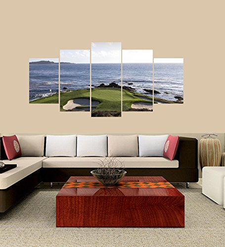 PEACOCK JEWELS [LARGE] Premium Quality Canvas Printed Wall Art Poster 5 Pieces/5 Pannel Wall Decor Pebble Beach Golf Course Painting, Home Decor Pictures - With Wooden Frame