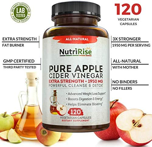 Apple Cider Vinegar Capsules for Weight Loss & Cleanse - 100% Pure Extra Strength 1950mg - 120 Natural Diet Pills for Women & Men for Bloating & Constipation Relief, Digestion & Energy Boost 8