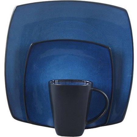 Gibson Home Soho Lounge-Soft Square 16 Piece Dinnerware Set, (Blue)