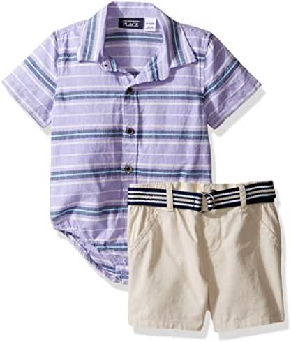 The Children's Place Baby-Boys' Li'l Guys Shit & Shorts Outfit Set