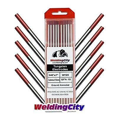 "WeldingCity 10-pk Premium TIG Welding Tungsten Electrode Rod 2.0% Thoriated (Red, EWTh20) Assorted Diameter .040"" - 1/8"" x 7"" | 10-pcs"