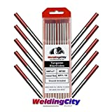 "WeldingCity 10 TIG Welding Tungsten Electrodes 2% Thoriated (Red) 0.040""x7"" (10Pk Box)"
