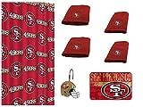 NFL San Francisco 49ers 18 Piece Bath Ensemble: Set Includes 1 Shower Curtain, 12 Shower Hooks, 2 Bath Towels, 2 Hand Towels 1 Bath mat