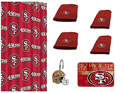 Amazon NFL San Francisco 49ers 18 Piece Bath Ensemble Set