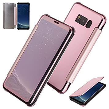best value exclusive shoes 2018 shoes MP4 Telecom Galaxy s8 Plus Coque Etui Housse Flip Cover Effet Miroir  antichocs Samsung Rose