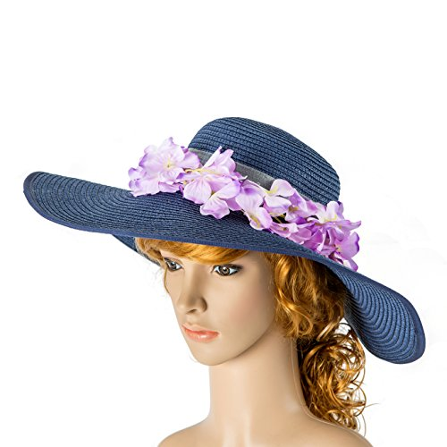 Jean Blue sun hat, foldable hat, travel hat, wide brimmed summer hat, cream calico sunhat, cotton hat, summer fashion, beach ()