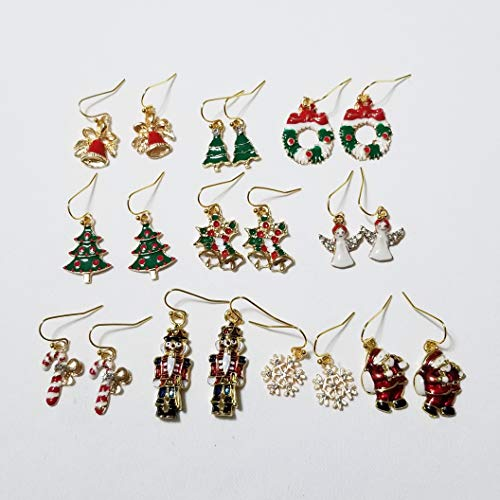 Enameled Holiday Bells - 10 pairs Christmas Holiday Enameled Crystal Gold Charm Earrings One of a Kind