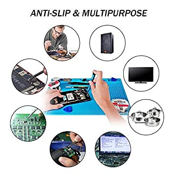 Silicone Maintenance Pad Heat Insulation Mat High Temperature Resistance Work Pads Magnetic Electronics Repair Soldering Station for Phones Computer Model Aircraft ipartsexpert