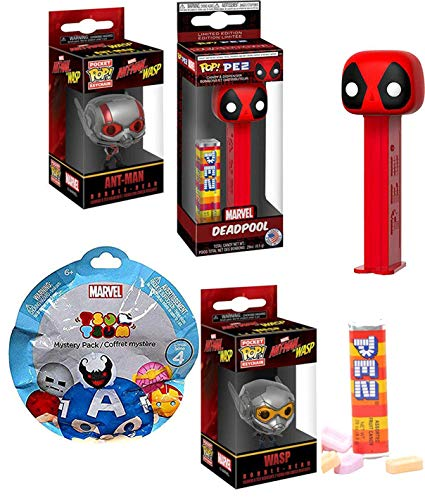 Heroes Atttack Marvel Comics Collection Deadpool Pez Head Figure Bundled with & Ant-Man and The Wasp Pocket Pop Keychain + Tsum Blind Bag Mini Character Figure 4 Items