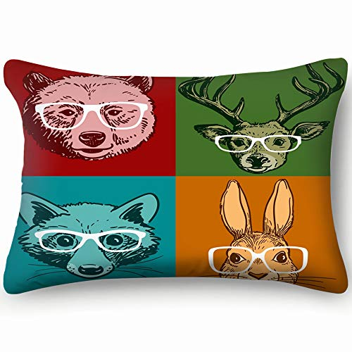 (best bags Hand Drawn Line Drawing Woodland Animals Wildlife Rabbit Nature Pillowcases Decorative Pillow Covers Soft and Cozy, Standard Size 14